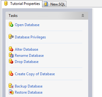 Creating the Tutorial Database